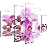 Bilder Blumen Orchidee Wandbild 150 x 100 cm Vlies - Leinwand Bild XXL Format Wandbilder Wohnzimmer Wohnung Deko Kunstdrucke Pink 5 Teilig - MADE IN GERMANY - Fertig zum Aufhängen 200653a