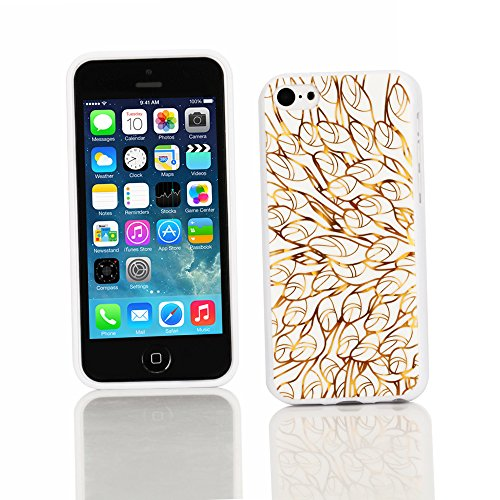 Kit Me Out TPU-Gel-Hülle für Apple iPhone 5C - Schwarz Graffiti Schmetterling Goldene Blumenranken Design 2