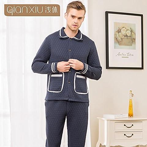 Las parejas de invierno parte para paquetes de homewear hombres pantalones de algodón de manga larga carpeta nighties ,XL-YU&XIN
