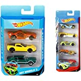 Mattel Hot Wheels (3 Pack) Design May Vary + Hot Wheels Five Car Gift Pack Assortment Colors And Designs Might Vary