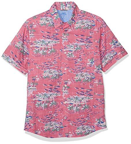 Izod Herren Dockside Island Print SS Shirt Freizeithemd, Rosa (Rapture Rose 697), X-Large (Herstellergröße: XL) -