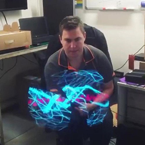 Hunpta 3D Hologramm Werbung Display LED Fan Holographische Bildgebung 3D Naked Eye LED Fan (Schwarz)