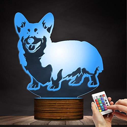 (Corgi Dog Design 3D Optische Täuschung Lampe Led Nachtlicht Holz Basis Dekorative Beleuchtung 7 Farbwechsel Schlafzimmer Wohnkultur Acryl Tischlampe Geschenk Für Hundeliebhaber)