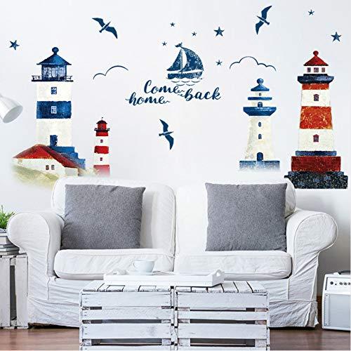 Mddjj Mar Velero Faro Pegatinas De Pared Decoración De Fondo Dormitorio Sala De Estar Tv Sofá Mural Wallpaper Art Decals Sticker