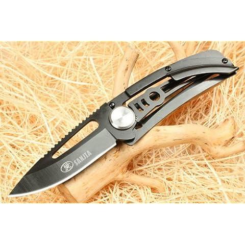 Sanjia Montagne Loup 8007Coltello pieghevole tascabile, modello Loup Noir, nero, da campeggio