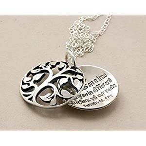 Familienbaum Medallionkette mit graviertem Wunschtext 24K/925-Silber, Lebensbaum, Geschenk für Mama