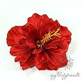 myPartytrends Haarblüte 'Hibiskus' in rot; Ø 11 cm; Höhe 6 cm. (Hawaiiblume, Haarblume, Hibiskusblume, Hibiskusblüte)