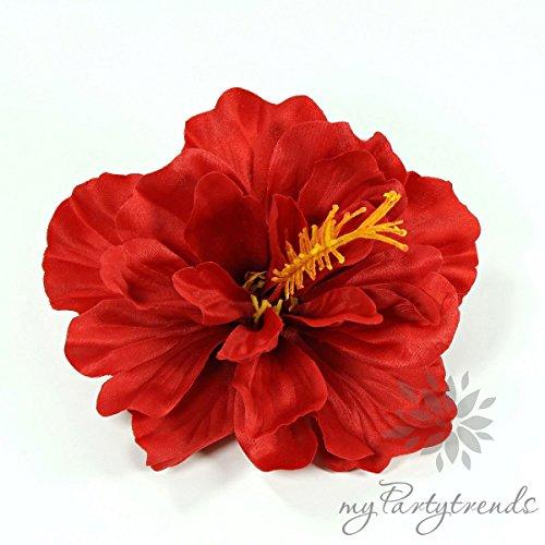 Haarblüte 'Hibiskus' in rot; Ø 11 cm; Höhe 6 cm. (Hawaiiblume, Haarblume, Hibiskusblume, Hibiskusblüte)
