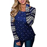 Junjie Clearance Frauen Sexy Bluse,Langes Snowboard-Sweatshirt der Weihnachts Pullover Kurz Shirt Patchwork Lange Ärmel Pulli Hemd Mode Herbst