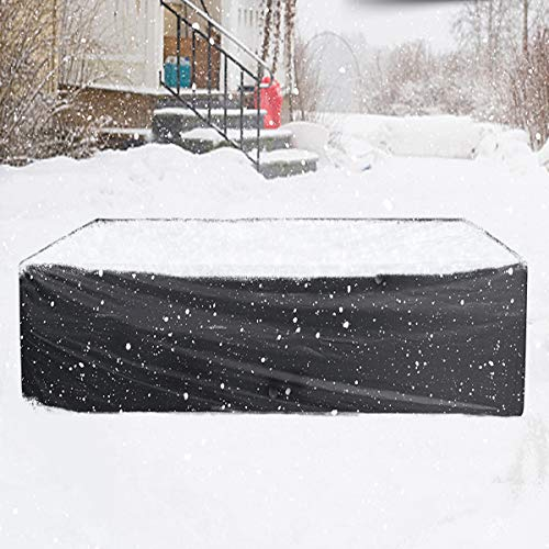 Essort copertura tavolo esterno 315x160x74cm copertura tavolo da giardino telo impermeabile antipolvere per arredo poliestere in pvc per nero(garanzia di 1 anni)