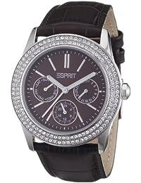 37ef26610945 Esprit peony - Reloj analógico de mujer de cuarzo con correa de piel marrón  - sumergible
