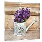 DekoShop Glasbild Echtglas Glasfoto Wandbild Lila Lavendelblüten in Einer Gießkanne AMDGT10379G2 G2 (30cm. x 30cm.) Real Glass Picture Print | Natur Blume Blumen violett lila gießkanne