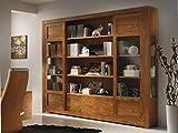 Bücherregal mit Schiebetüren aus Glas, Möbel aus Eschenholz in modernen Stil, Wohnwand-Bücherregal für Fernseher, B283xT36xH240 cm