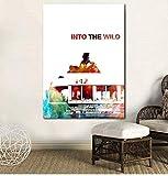 UDIYXC Into The Wild Poster Film Arte Acquerello Arte Stampa su Tela Decorazione della Parete Decorazione della casa No Frame, 60x80cm