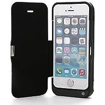 ZOGIN 4200mAh Funda de Batería Externa con la Cubierta del Tirón Funda de Batería Integrada con Cubierta de Protector de la Pantalla y Soporte de Móvil para iPhone 5 / 5S / 5C, Color Negro