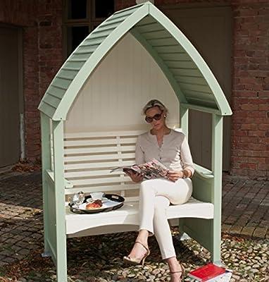 Painted Timber Garden Arbour & Seat (Sage & Cream) OGD043