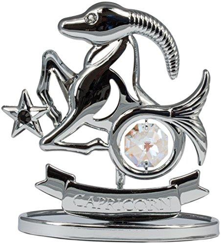 Sternzeichen Steinbock Figur mit Kristallen silberfarben MADE WITH SWAROVSKI ELEMENTS