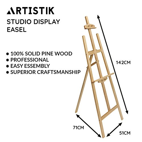 Artist Easel - Pine Wood Floor Studio Easel and Professional Wooden Easel for Painting, Sketching, Display, Exhibition, and Art Artists Improves Technique and Versatility, Students and Hobbyists