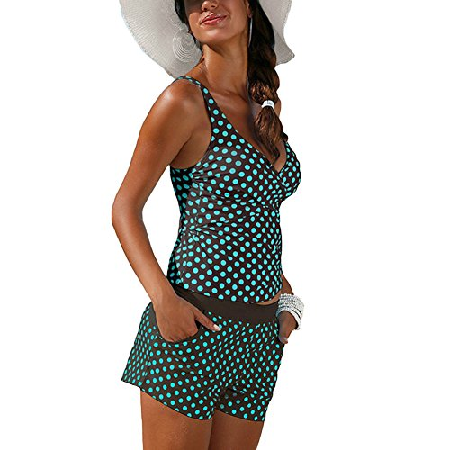 Damen Two Piece Tankini Set Badeanzug Bademode Zweiteilig Swimwear Beachwear Swimsuit Tankini Große Größen Oberteil + Hotpants Dunkel Grün XL Meedot (Two Piece Tankini Swimsuit)