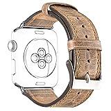 DaGeLon Retro Leder Uhrenarmband für iWatch 42mm Series 3 Series 2 Series 1, Stilvoll Lederarmband Ersatzband Robust Armband Handgelenk Strap mit Metallschließe für Apple Watch Sport / Edition, Braun