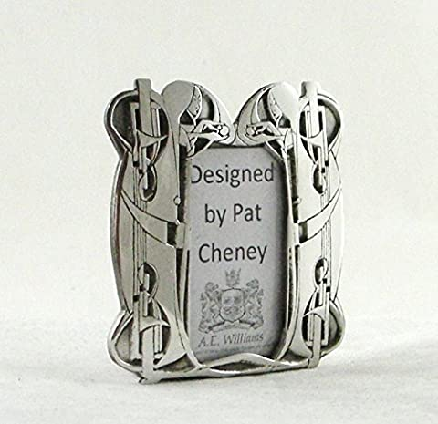 Handcrafted English Pewter Art Nouveau Design Photo Frame 1.1/2