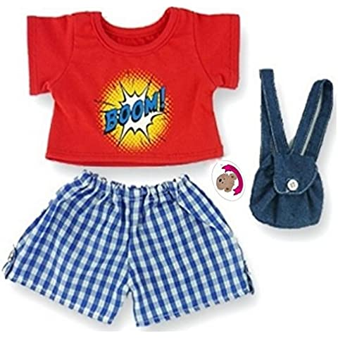 Build a Bear fit Teddy Bear Clothes Boom! Outfit & Denim Backpack