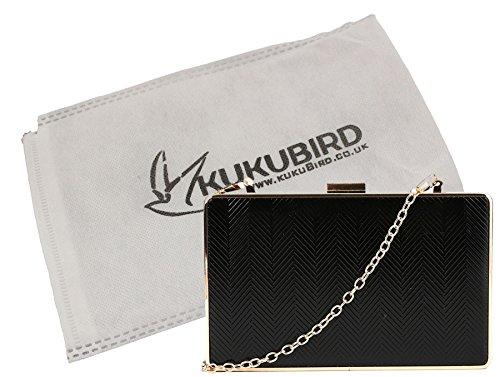 Kukubird Molly freccia martellata frizione Zig Zag partito Prom pochette borsa con sacchetto raccoglipolvere Kukubird Black