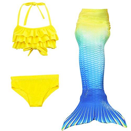 erjungfrau Cosplay Kostüm Bademode Meerjungfrau Shell Badeanzug Sets (140, D gelb+blau) (Meerjungfrau Kostüme Kid)