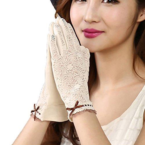URSFUR Frauen dünne Sommer Weiche Sonnenschutz Handschuhe mit süße Schmetterling Fahrradhandschuhe Motorradhandschuhe - Beige (Sonnenschutz Beige Creme)