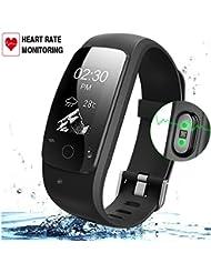 Fitness-Tracker mit Herzfrequenz-Monitor, Wireless Bluetooth Smart Armband mit IP67 Wasserdicht, 24-Stunden Auto Activity Wristband mit Wettervorhersage / 14 Trainingsmodi / Sleep Monitor / SMS anrufen Für IOS / Android Smartphone erinnern