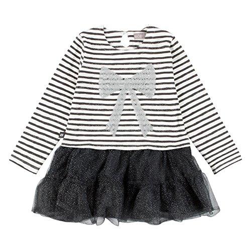 Bóboli Mädchen Kleid COMBINED DRESS FOR GIRL, Gr. 116 (Herstellergröße: 6), Grau (STRIPES 9323)