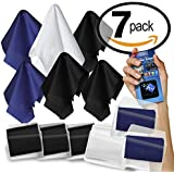 6-Pack Microfiber Cleaning Cloth. Best Screen Cleaner for Electronic Devices, Glasses & Delicate Surfaces + Gift Microfiber Sticker Pad. 1 Large and 5 Medium Cloths with Vinyl Pouches by Clean Screen Wizard®