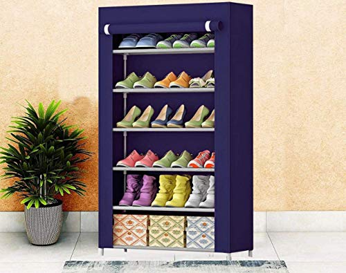 Gymfy 6 Layer Multipurpose Portable Folding Shoes Rack/Shoes Shelf/Shoes Cabinet with Wardrobe Cover, Easy Installation Stand for Shoes(Shoes Rack)(Shoes Rack, Shoes Racks for Home)_6 Layer navyblue