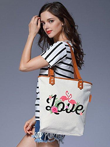 S.CHU Women's Flamingo Love Canvas Leather Tote Handbag Ladies Shoulder Bag Beige