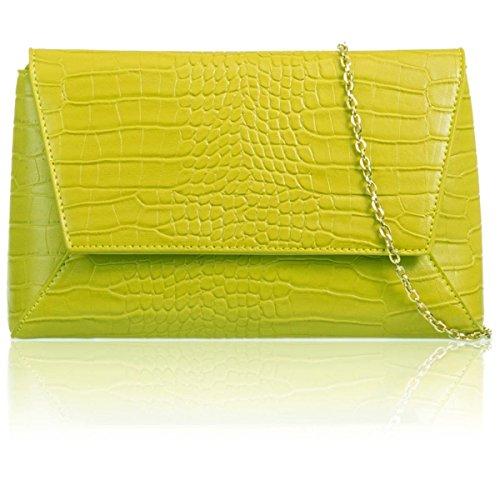 xardi London Medium Vintage Faux pelle di coccodrillo Donna geometrica frizione Prom Sera Borse Yellow