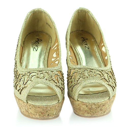 Frau Damen Abend Party Peeptoe Diamante Keilabsatz Sandale Schuhe Größe Gold