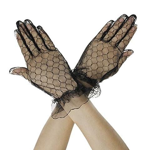 FakeFace Brauthandschuhe Fingerspitzen Handgelenk-Länge Handschuhe Brautaccessoires Spitze Tüll Party Abendhandschuhe für Frühling Sommer Herbst 1 Paar