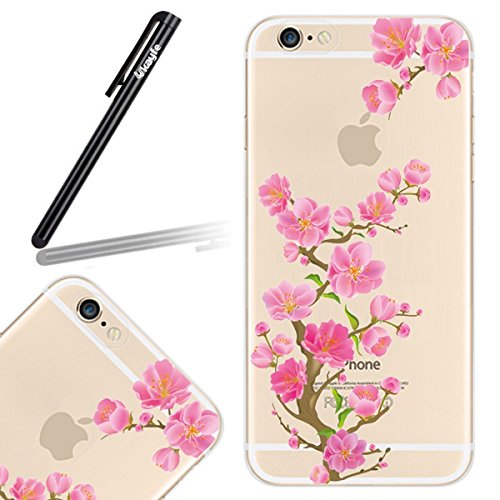 Galleria fotografica Ukayfe Custodia per iPhone 6 Plus, caso sveglio Slim per iPhone 6 Plus, TPU Crystal Clear antigraffio con Rosa Fiore Floreale Plum Blossom Cover posteriore per Apple iPhone 6 Plus/ 6S Plus (5.5 ) + Pellicola Protettiva Schermo + stilo