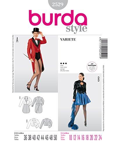 Burda 2529 Schnittmuster Kostüm Fasching Karneval Varieté (Damen, Gr. 36 - 50) Level 3 (Kostüme Varieté)