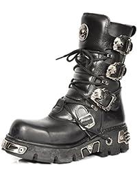 New Rock Hombres Metálico Negro Cuero Largo Zapatos - M.591.S2 (EU 41, Negro)