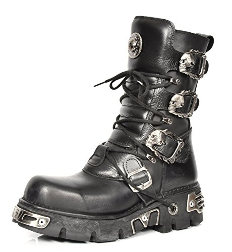 New Rock Leder Stiefel Schnürsenkel Schuhe Gothic Retro Stil Schädel Schnalle Entwurf Schwarz (EU 45)