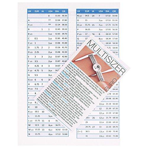 Neues Europäisches Ringgröße- Meßgerät für Verlobungsring+ INTERNATIONALE TABELLE