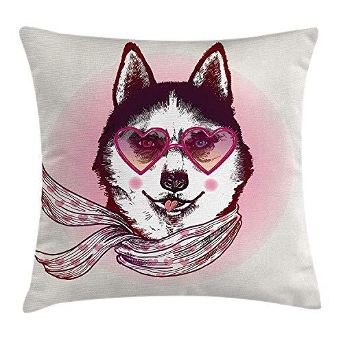 Cartoon Throw Pillow Kissenbezug, Hipster Husky Dog mit Herzen, Sonnenbrille und Schal Mode Tier Kunstdruck, dekorative quadratische Akzent Kissenbezug, Rosa Creme Schwarz