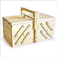 Boîte couture Bois clair Rangement fils boutons vide coudre caisse 30 x 15.5 x 19 cm