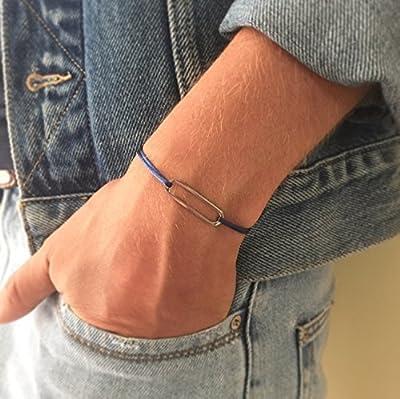 Bracelet maillon en acier sur cordon