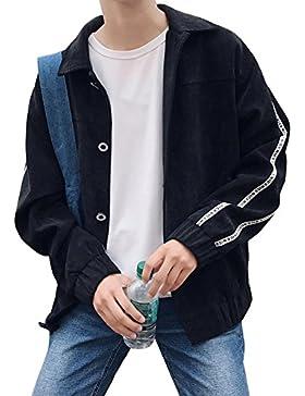 Hombre Chaqueta Levántate Cuello Cazadora Vaquera Con Bolsillos Jacket Suelto Casual Capa Outwear Negro 3XL