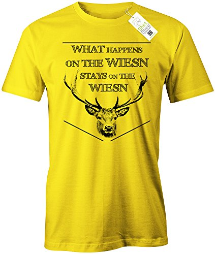 OKTOBERFEST - WHAT HAPPENS ON THE WIESN - STAYS ON THE WIESN - DELUXE - HERREN - T-SHIRT Gelb