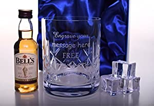 Engraved/Personalised Crystal Glass + Miniature Bells Whisky in Silk Gift Box 40th/50th/60th/Dad Birthday Gift