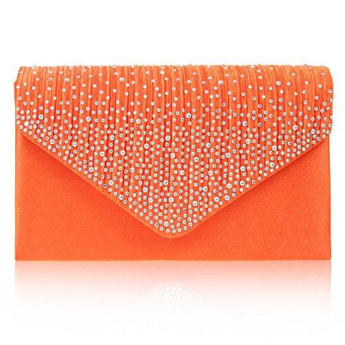 Zarla grande, da donna, per abiti da sera, da donna, con borsa per feste con busta, motivo: Sera Arancione (Mandarino)