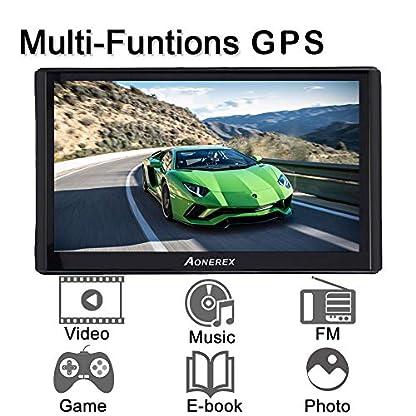GPS-Navi-Navigation-fr-Auto-LKW-PKW-7-Zoll-Touchscreen-mit-Sonnenschutz-Eingebaut-8GB-256MB-Aonerex-Navigationsgert-Sprachfhrung-Fahrspurassistent-Europa-Maps-Lebenslang-Kartenupdates